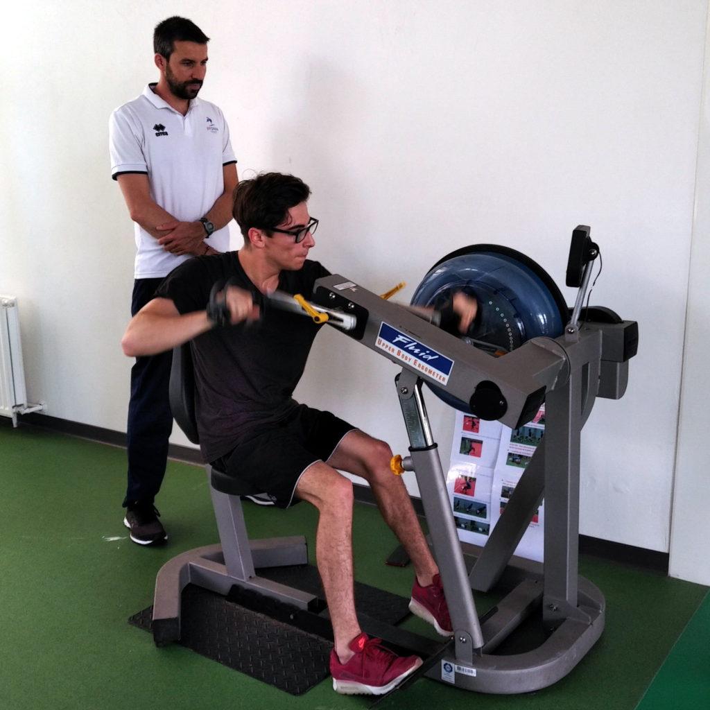 Enzo Giorgi en séance aérobie avec son préparateur physique Romaric Linares au CREPS de Montpellier.
